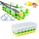 Bandeja para cubitos de hielo, 3 piezas de moldes de silicona reutilizables Bandeja Moldes para cubos con tapa extraíble sin derrames con clip para hielo, 37 bandejas de hielo de rejilla para