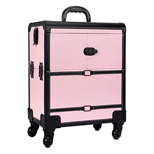 Schönheitssalon Toolbox Locker - Makeup-Trolley, Rollenreisetasche, Schönheit Make-up-Tasche, kosmetische Speicher-Beutel mit Rädern (Color : Pink)
