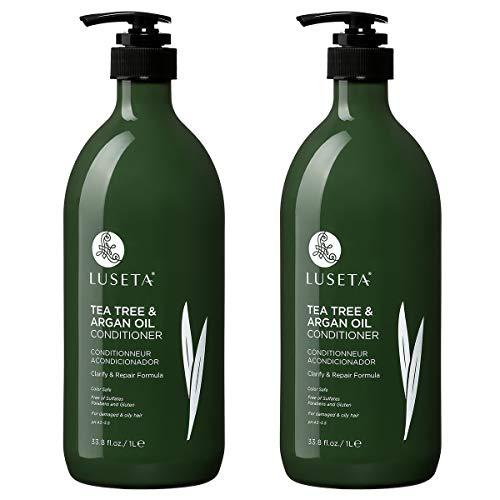 Luseta Tea Tree & Argan Oil Detangling Shampoo & Conditioner Set, 2 x 33.8 Oz