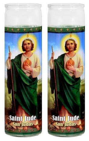 Saint Jude 8' White Candles, 2 Pack Religious Candles Set