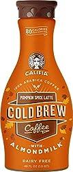 Califia Farms - Pumpkin Spice Latte Cold Brew Coffee with Almond Milk, 48 Oz, Real Pumpkin Puree, No