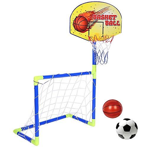 LOVEHOUGE Portería de fútbol con aro de canasta, red de objetivos de entrenamiento 2 en 1 para jardín al aire libre, instalación rápida, gran regalo para niños, pequeño