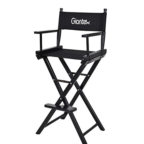 Giantex Folding Wooden Makeup Director Artist Chair Beech Wood Portable Professional
