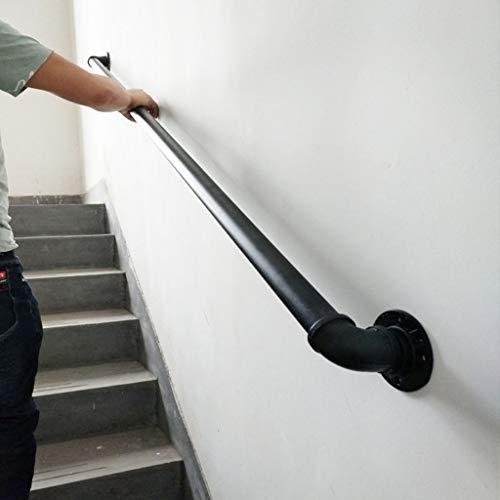Comif-barkruk Volledige set trapleuning, zwarte antislip veiligheidsleuning voor ouderen, wandmontage Retro gegalvaniseerde pijpleuning (1ft-20ft)