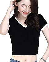 [トナリ] レディース tシャツ スプライス 半袖 へそ出し ミニ半袖 カットソー 半袖tシャツ トップス 夏 短い オシャレ シンプル ファッション ブラックXL