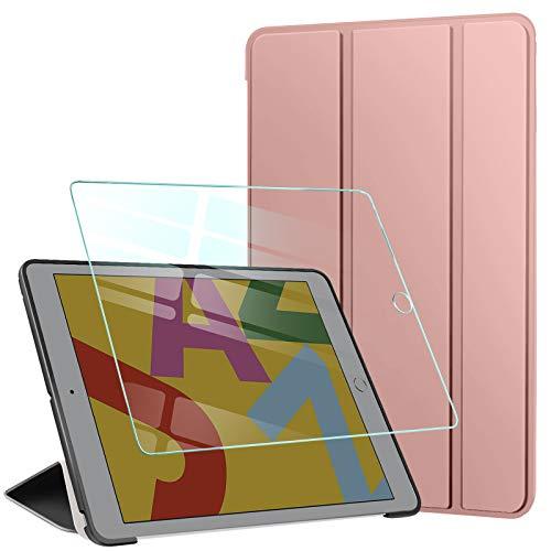 AROYI Funda Compatible con iPad 10.2', iPad 8ª (2020)/7ª (2019) generación Funda y Protector Pantalla, Carcasa Silicona Smart Cover con Soporte Función Auto Sueño/Estela (Oro Rosado)