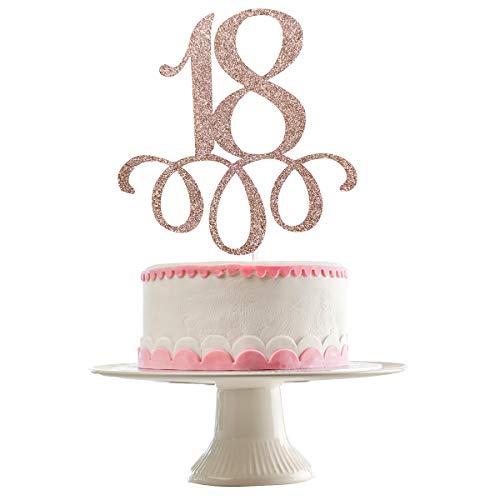 18th Birthday Cake Topper 18 Birthday Cake Topper- Rose Gold Glitter, 18th Birthday Decorations, 18th Birthday Decorations for Girls, 18th Birthday Cake Decorations, Happy 18th Birthday Decorations