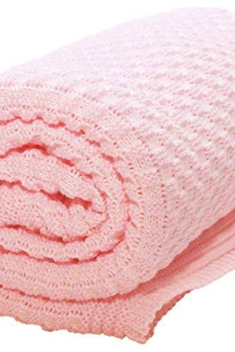 Wallaboo Eden, Manta de punto, 100% algodón orgánico, 90 x 70 cm, Color Rosa