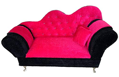 Eledoll Dollhouse Furniture 1:6 Pink Velvet Couch Sofa for 11.5 inch Fashion Doll Furniture for 12 inch Dolls