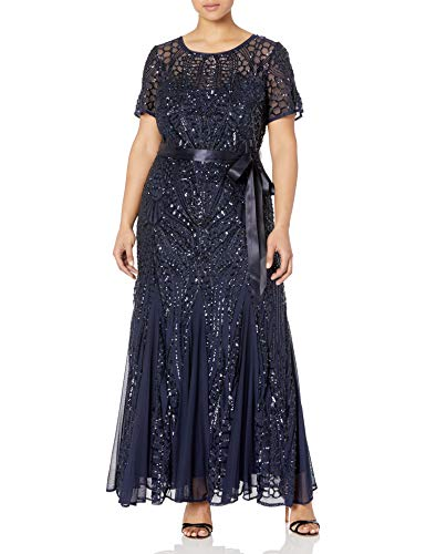 R&M Richards Women's Plus Size Long Beaded Gown, Navy, 20W (Apparel)