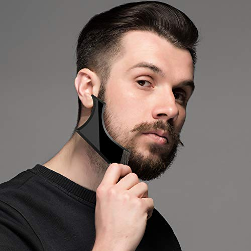 4 Pieces Beard Shaper Kit Includes Beard Shaping Template Tool Mustache Beard Comb and Scissors Works with Electric Trimmers Razors or Clippers