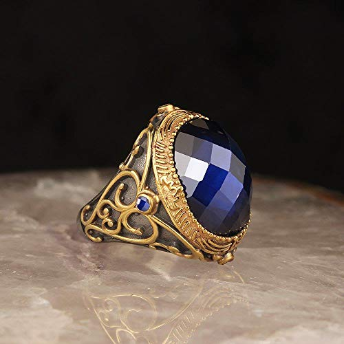 2020 Latest Design - Anillo de plata de ley 925 para hombre turco, piedra de ónice precioso, joyas para hombre, hecho de anillos en el anillo de plata de pavo macho para atar al hombre, 7,5 cm, DINDE