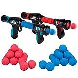Hog Wild Atomic Power Popper Battle Pack - Red and Blue Rapid Fire Foam Ball Blaster Guns - Shoots Up to 8 Foam Balls Each - 2 Player - 4+