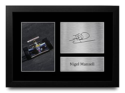 HWC Trading FR A4 Nigel Mansell Formula 1 Los Regalos Imprimieron La Imagen Firmada del Autógrafo para Los Fanáticos De Las Carreras De La Fórmula 1 De F1 - A4 Framed