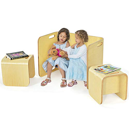 COSTWAY 3tlg. Kindertisch Stühle Set Birke, Kindersitzgrupppe Holz, Kindermöbel Kinder Lerntisch für Zuhause Schule Kindergarten