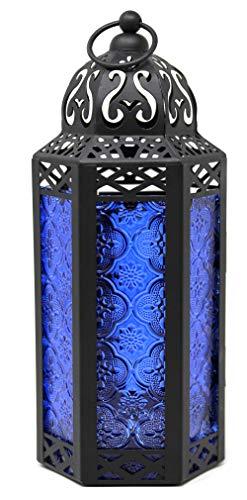 Vela Lanterns Decorative Candle Lantern Holders - Cobalt Glass, Medium