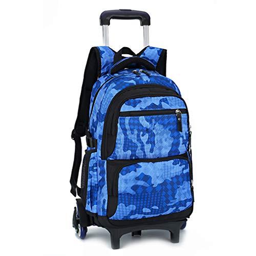 Bolso con Ruedas Mochila Escolar Bolso de la Carretilla Camuflaje del Balanceo Niños(Cielo Azul 6 Ruedas)
