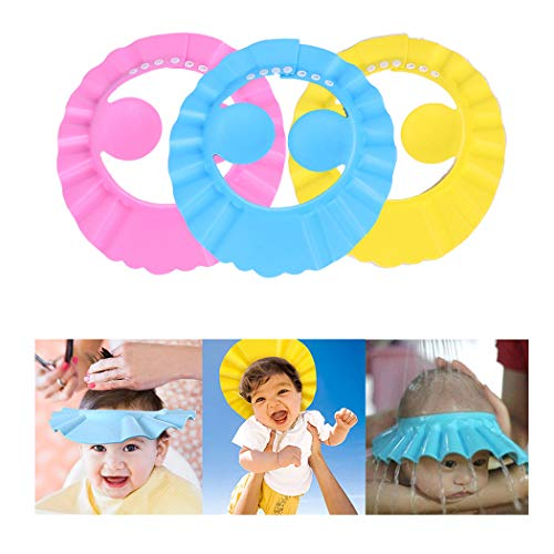 YUDIDA Baby Shower Cap Adjustable Bathing Shampoo Hat with Ear Protection, Baby Shower Cap Protect Your Baby Eyes 3PCS Children Wash Hair Foam Shield Hats