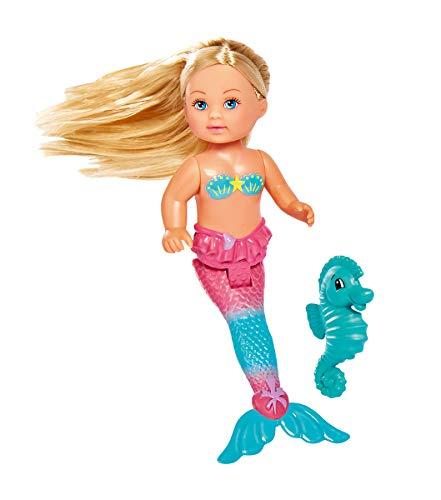 Simba Toys Evi Love- Muñeca Sirenita de 12 cm, con Cola Articulada y Caballito de Mar, Dos Modelos Disponibles, Recibirás un Modelo de Forma Aleatoria, para niños a Partir de 3 años