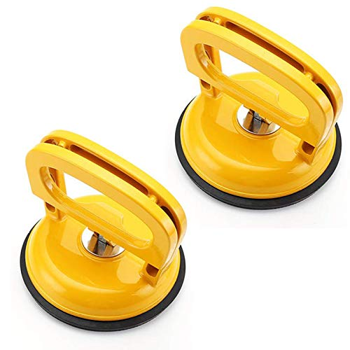 2 Pack Glass Suction Cup Heavy Duty - Aluminum Vacuum Plate Dent Puller, Power Grip Vacuum Lifter for Glass, Tiles, Mirror, Granite Lifting, Sucker Plate Double Handle Locking