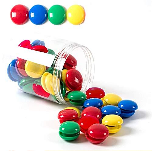 Tablón de Anuncios/Imanes de Planificación, Tiberham 80Pcs 20Mm Botones Magnéticos Redondos Cubiertos de Plástico, Imanes de Pizarra para Refrigerador para Hogar Oficina Escolar - 4 Colores Surtidos