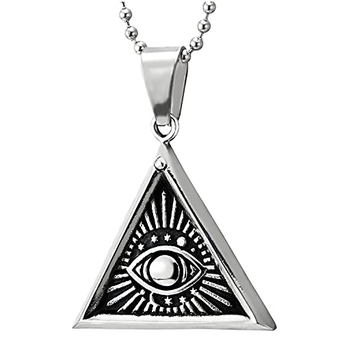 Mal de Ojo Triángulo Medalla Collar con de la Llama Fuego Rayos de Sol, Colgante de Hombre Mujer, Acero Bola Cadena 75CM