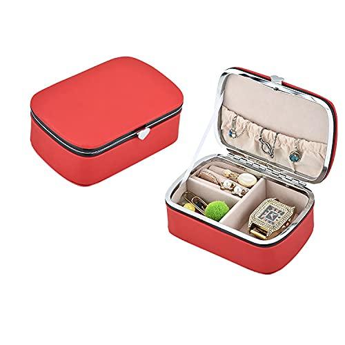 Wilany Joyero de viaje de piel sintética con caja de joyería con cerradura para joyas, pequeño organizador de joyas de viaje para mujeres y niñas cajas de joyería para regalos
