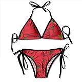 Women Flag Morocco Wave Collage Bikini de Dos Piezas para Mujer Strappy Top Acolchado Traje de baño de Dos Piezas