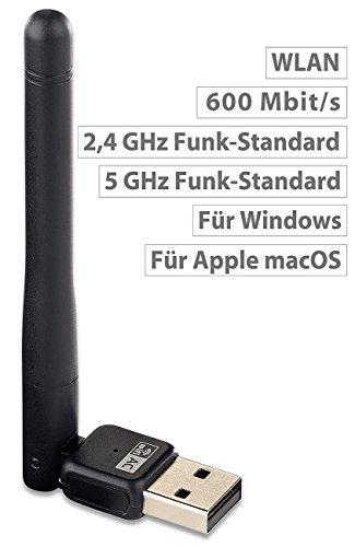 7links USB WiFi Antenne: Mini-USB-WLAN-Stick mit externer 3-dBi-Antenne, 600 Mbit/s (WLAN Antenne Laptop)