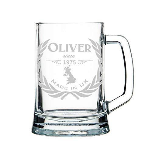 Boccale di birra personalizzato, boccale di pinta - inciso: nome, anno, paese - vetro pesante 1 kg