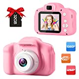 GKTZ Children's Camera Digital Kids Cameras with 2 Inch IPS Screen Rechargeable Video Camcorder Camera Toys Gifts for 3 – 8 Year Old Boys and Girls Upgraded with 32GB Micro Memory Card - Pink