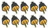 BRUFER 310103 Heavy Duty Male Electrical Plug 3-Prong 125V 15A - 3 Wire Replacement Male Electrical Plug - Bulk Pack of 10 pieces