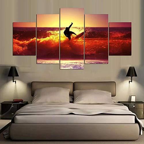 Baobaoshop 5-Piece Canvas 5 Panels Moderne HochauflöSende Kunstdruck Leinwand Hawaii Surf Art Wand Wohnzimmer Wand Bilderrahmen-30x40 30x60 30x80cm