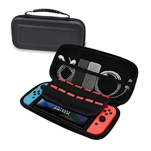 Tragetasche für Nintendo Switch mit Hartschalen-Etui für Wasserbeständigkeit / Scratch-Resistance PVC-Schalter, Schwarz / Rot / Grau
