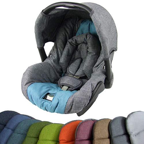 BAMBINIWELT Ersatzbezug für Maxi-Cosi CITI SPS 6-tlg, Bezug für Babyschale, Komplett-Set (grau-türkis) XX