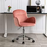 Goujxcy Desk Chair,Modern Velvet Fabric Office Chair,360° Swivel Height Adjustable Comfy Upholstered Leisure Arm Accent Chair (Pink)