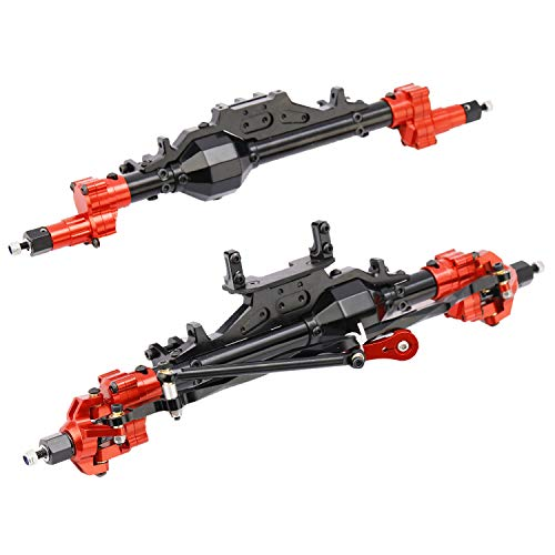 RZXYL Latest Model Aluminum Portal Front and Rear Axle for 1/10 Axial Wraith 90018 90048 90053 90018 90020 90045 90056 RR10 RC Model Crawler Car (Schwarz Rot)