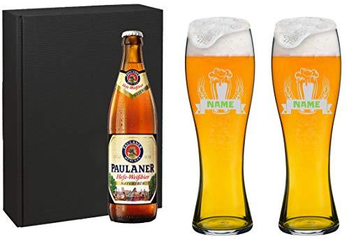 Spiegelau Juego de vasos para cerveza de trigo con grabado personalizado [nombre] y [Diseño 02] –...