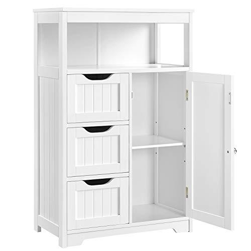 Topeakmart Bathroom Storage Floor Cabinet with 1 Door & 3 Drawers, Wooden -