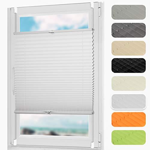 DoNey Plissee klemmfix Faltrollos jalousien für Fenster ohneBohren Sonnenschutzrollo 40 x 130cm (BxH) Weiß für Wohnzimmer, Arbeitszimmer, Büro, Bibliothek