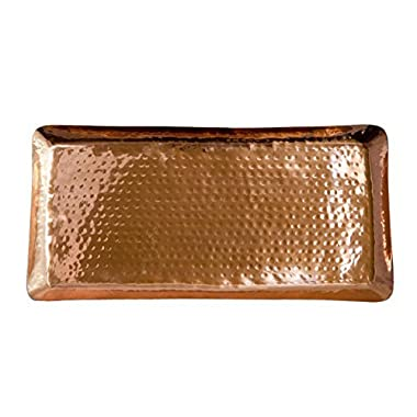 Pure Copper Serving Hammered Rectangular Tray Antique Charger Platter For Kitchenware, Party, Bar, Household & Outdoor Use - Best Copper Gifts - 17  x 8.5  By Alchemade