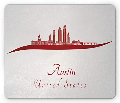 Alfombra RatónAlfombrilla de ratón Austin, ilustración de caligrafía de Estados Unidos con alfombrilla de ratón Cityline moderna 25 X 30 CM