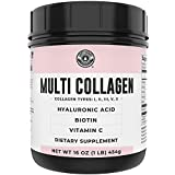Collagen with Biotin, Hyaluronic Acid, Vitamin C, 1 lb Powder. Hydrolyzed Multi Collagen Peptide Protein. Types I, II, III, V, X, Collagen for Hair, Skin, Nails*. Collagen Supplement for Women, Men