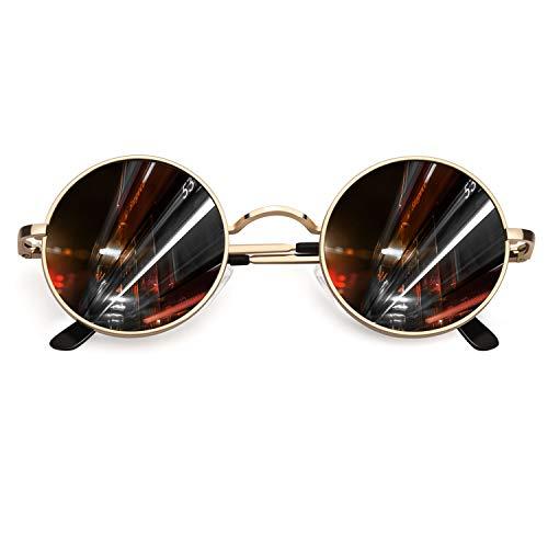 CGID Retro Vintage Sonnenbrille, inspiriert von John Lennon, polarisiert mit rundem Metallrahmen, für Frauen und Männer Gold Grau E01
