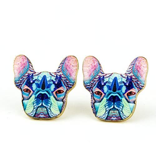 French Bulldog Earrings: Dog Stud Earrings for Women and Girls Colorful Enamel Print (Light Blue)
