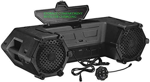 Planet Audio PATV85 ATV UTV Weatherproof Sound System - 8 Inch Speakers, 1.5 Inch Tweeters, Built-in Amplifier, Bluetooth. Built-in LED Lightbar, Easy Installation for 12 Volt Vehicles