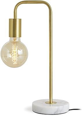 LIFA LIVING Lampe de table dorée en métal et mable, Lampe à poser rétro au design industriel, Lampe de chevet E27, Lampe de bureau vintage avec un câble de 1,2 m.