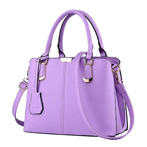 Top Handle Bag Phone Purse Cosmetic Satchels Womens Large Capacity Tote Shoulder Messenger Bag Waterproof Leather Handbag (Purple)