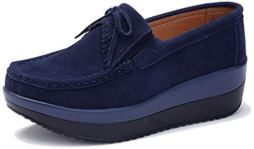 [Vocnako] レディース安全靴 ナースシューズ ウォーキングシューズ ダイエットシューズ 看護師 介護士 本革 厚底靴 履きやすい 疲れにくい 女性 用 作業靴 軽量 スニーカー 通勤 通学 ダーク ブルー 25.0cm