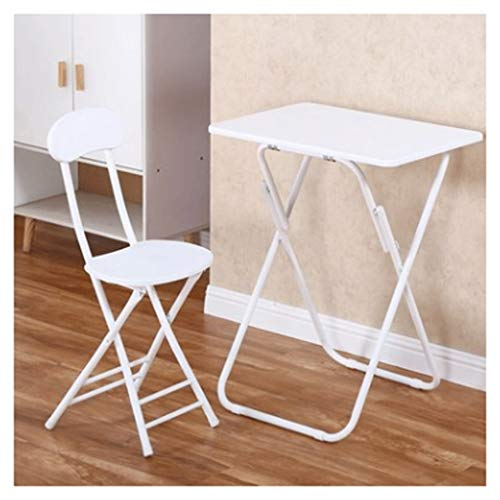 LZL With Stool Study Computer Desk Home Office Writing Small Desk, Modern Simple Style PC Table,Metal Frame (Color : White)